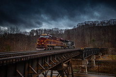 PRR on the N&W at Coopers (benpsut) Tags: 8102 bridge coopers coopersviaduct heritageunit nw ns prr prr8102 pennsy pokey helper helperset heritage nspocahontasdistrict railroad spring stormlight stormy trains trestle