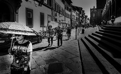 Florence Italy Sun Screen (mcook1517) Tags: florence firenze italy italia travel tourism blackandwhite contrast umbrella people europe asian candid