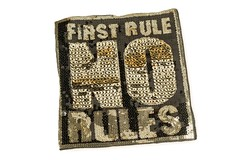 Pailletten Patch FIRST RULE NO RULES, Aufnäher, ca. 20x23cm, Applikation (patchmonkeys) Tags: patch glamour pailletten glam edel chic style no gros rücken brust applikation glamourös glizzy glitzern glitzerdinge strahlen disko fashion reflektion bling aufbügler edle edles aufnäher xl first rule rules patches klassisch stylisch