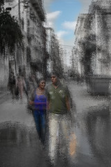 Havanna on the road .. (Honza 007) Tags: blur havanna cuba kuba street people man woman blue sky bluesky retro dialog story walk black light lights
