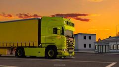 sunset in Poland (black_moloko) Tags: smds scania poland sunset trip latvia ets2