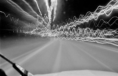 21 - 0.67056 km in 30 seconds (David Ian Ross) Tags: rocket sled vanishing point road blur capture accumulated 30 second cable release deux chevaux lille bil 400 asa citroën 2cv 35mm december canon ilford xp2 night light speed project 80kmph a12 a1 average vibration kubrick 2001 motorwind monochrome streetlights vehicles wiper bonnet windscreen tripod degree time art photography relativity einstein 602hp driving bowman journey travel exposure vehicle automobile exhibition gallery
