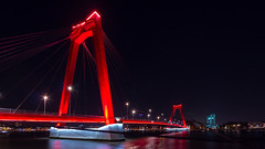Willemsbrug + Hefbrug (Michiel Pols) Tags: bridge bridges rotterdam harbor harbour city cityscape landscape skyscraper willemsbrug erasmusbrug hefbrug night stars star moon water river maas meuse light red lights evening dark gx9 panasonic lumix