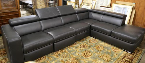 Contemporary leather sectional sofa ($840)