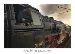 Departure Readiness (memories-in-motion) Tags: readiness person view steam engine power coal railway travel eisenbahn technology old industry red black qualm dampf mobility history fernweh departure