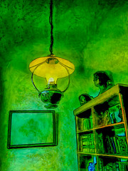 The Bookcase By Lamplight (Steve Taylor (Photography)) Tags: bookcase lamp lamplight books bust digitalart painting picture green blue black yellow newzealand nz southisland canterbury christchurch city museum outline sculpture