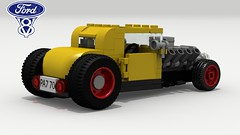 '32 Ford Hot Rod (rear view) (LegoGuyTom) Tags: 1930s 1932 ford classic vintage american america coupe v8 famous old pov povray power school lego ldd legos digital designer city lxf download dropbox model a hot road rod hotrod