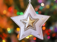 Beautiful Star (Through Serena's Lens) Tags: smileonsaturday wishuponastar starshaped star ornament metal christmas bokeh colorful canoneos6dmarkii