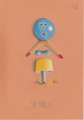 The Things (Klaas van den Burg) Tags: coloured pencils wordplay humor things stuff trash boomernag bowlingball dumbbell lamp wires monster
