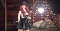 ♚ Look #623 ♚ (Caity Saint) Tags: thedarkness thechapterfour tcf event fabia gacha redhead hat lipstick cup coffee dress bed foxcity backdrop sl secondlife pixels euphoric semotion bh cabin