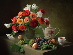 Still life with a bouquet of zinnias and fruit (Tatyana Skorokhod) Tags: stilllife bouquet zinnias fruits grapes apples decor indoors