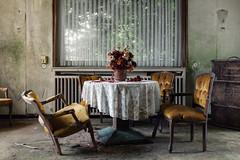 Tea Room (maxmene70) Tags: urbex decay abandoned architecture urban travel hotel canon light window master flowers chair