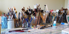 The Tools of the Trade (Eclectic Jack) Tags: tool tools trade art artist watercolor paint brush brushes still life stilllife pencil eraser jar bottle ruler smileonsaturday saturday smile