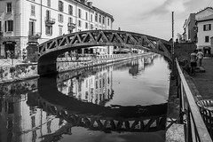 Ponte di via Corsico (Eugenio_81) Tags: milano milan naviglio rflessi reflection landmark lombardy edificio windows people gente street urban europa europe fiume river canale navigliogrande eugeniosollima bw biancoenero blackandwhite blackwhite architecture architettura italy italia riflesso riflessi colorful naviligrand ponte bridge reflections allaperto case casa house houses summer estate milàn ngc city città acqua water perspective canal santamariadellegraziealnaviglio pontdeviacòrsich pontediviacorsico sollima