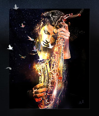 memory (andrzejslupsk) Tags: woman portrait andrzej słupsk slupsk face art photo manipulation music memory saxophone