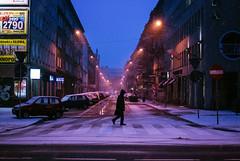 Hush (ewitsoe) Tags: winter travel street snow snowfall nikon ewitsoe singlefigure walkingtowork snowstorm atmosphere weather cold dawn bluehour poznan poland cityscape horizon nikond80 35mm morning