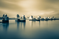 The silence of the barrier (Blende57) Tags: thames thamesriver river london thamesbarrier barrier england stormsurges hightides longexposure wideangle splittone themse gezeitenschutz