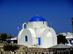Agia Marina - Church in Antiparos (dimaruss34) Tags: newyork brooklyn dmitriyfomenko image sky greece antiparos church agiamarina trees buildings pavillion cross bell flag wall