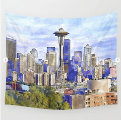 Seattle View in watercolor Wall Tapestry (marianv2014) Tags: seattle usa american america washington downtownseattle spaceneedle travel attractions watercolour aquarelle walldecor roomdecor seattleposter spaceneedleposter skylineposter affordablegifts artgifts art skyscrapers tallbuildings watercolor skyline cities wallart fineart urbanlandscape green purple blue squareformat illustration artwork outdoors beautiful tourism scenery city view contemporary decor landmark charming tapestries