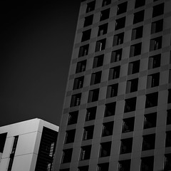 (morbs06) Tags: 25hourhotel düsseldorf abstract architecture black building bw city diagonal facade geometry highrise hotel light lines monochrome pattern repetition shadow sky square stripes texture windows