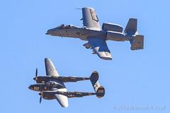 Heritage Flight: Lightning and Thunderbolt II (Norman Graf) Tags: a10 aircraft airplane heritageflight p38j airshow stevehinton majdanielcosmolevy lockheed p38 tacticaldemonstrationteam 2017californiacapitalairshow a10c fairchildrepublic aerobatics 2017a10heritageflightteam 23 skidoo 820648 23skidoo louise 162 4423314 cas closeairsupport fighter jet lightning nx138am plane thunderboltii usaf wwii warbird warthog