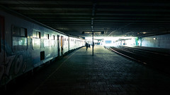 End of Trip (Gilderic Photography) Tags: train liege belgium dark cinematic belgique station urban city tunnel light backlight silhouette