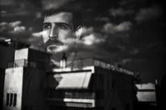 ..//..//..// (Peny_Giannakou) Tags: monochrome blackwhitephotos blackwhite blanc blackandwhite noir mono man reflection windowstory window mystery