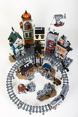 Steampunk Moon City (Dwalin Forkbeard) Tags: lego moc steampunk city train railway tram colony moon cheese rocket house airship telescope elevator pf