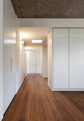 Home, empty room with wardrobes (Santana beeldbank) Tags: building home house interior indoor inside architecture design modern new contemporary nobody empty room door concrete cement wall white light view open space floor apartment flat hardwood parquet style corridor passage wardrobe closet perspective wide
