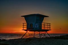Simple Seaside Sunset (tquist24) Tags: california harborcovebeach nikon nikond5300 outdoor pacificocean santacruzisland ventura beach bird evening geotagged lifeguardtower ocean outside sand sky sun sunset water hdr