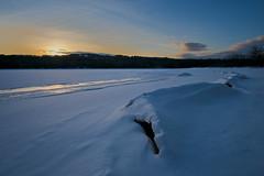 Winter Sunset at Lake Mcdonough (etanmayhen) Tags: fuji xt20 ice sunset goldenhour darktable clouds sky reflection lake lakemcdonough barkhamsted connecticut winter newengland rokinon rokinon12mm rokinon12mm20 trees snow