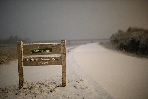 Snow falling and covering The Downs Link, Shoreham-by-Sea