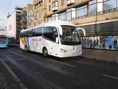Fairline Coaches of Glasgow Scania K360IB4 Irizar i6 F10LNE, in Trafalgar tours livery, at Princes Street, Edinburgh, on 5 February 2019. (Robin Dickson 1) Tags: craigofcampbeltown busesedinburgh westcoastmotors fairlinecoaches irizari6 scaniak360ib4 hodgsonscoachesofbarnardcastle yr15vcc trafalgartours f10lne
