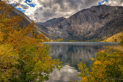 Changes (Bryan the Roving Vagabond) Tags: convictlake lake reflection sierras sierra california ca mountain clouds cloud water rock leaves fall autumn landscape serene color sky wood tree grass mountainside forest