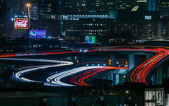 over the central expressway exchange (pbo31) Tags: bayarea california nikon d810 color night dark november 2018 boury pbo31 sanfrancisco city black lightstream motion traffic potrerohill over red 101 centralexpressway 80 somisspo overpass ramp roadway cocacola billboard