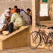 Men playing at the porch of a mosque in Rissani, South-East Morocco, near the Sahara desert.