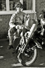 Brooklands Museum Military Vehicles Day. (BIKEPILOT, Thx for + 5,000,000 views) Tags: military soldier wwii worldwartwo secondworldwar monochrome photoshopped photoshop people militaryvehiclesdaybrooklandsmuseum weybridge surrey uk usarmy vehicle transport motorcycle bike motorbike
