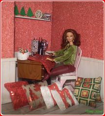 4.advent day - advent calendar with dolls (Mary (Mária)) Tags: barbie mattel doll christmastree christmas indoor barbiebasic sweater sewing adven calendar winter handmade marykorcek