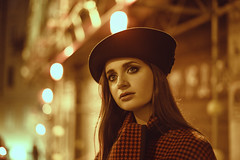 The End of Fall (Michela Riva Photography) Tags: fashionphotography fashion fashionphotographer vintage vintagefashion retro woman model night nightshot coat winter autumn fall bluehour beauty longhair bigeyes hat cinematic portrait trieste europe emotional emotion moody mood young youngwomen youngadult one person alone walking street urban oldcity oldtown red cyan