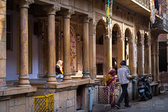 Front Gates Raised Porches (shapeshift) Tags: in architecture asia balconies balcony columns davidpham davidphamsf documentary frontgates gates india jaisalmer people porch portico porticoes rajasthan residential sandstone shapeshift shapeshiftnet southasia street streetphotography travel vernacular vernaculararchitecture