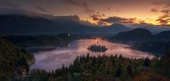 Bled Lake Panorama at sunrise . (Anton Calpagiu) Tags: nikonz7 leofoto nisi haida bled lake sunrise goldenhour landscape slovenia panorama sigmaart view autumn colors sky clouds longexposure