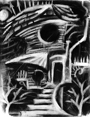 Exorcised (Skyler Brown Art) Tags: abandoned angst architecture art artwork bw blackwhite blackandwhite charcoal creepy dark darkness depressing drawing fear germanexpressionism gothic greyscale haunted house intense lighting macabre moon ominous paper sad scary shadow shadows