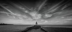 Above us Only Sky (MMiPhoto) Tags: southshields coast sand sea beach sky mono bw pier lighthouse xf1024 fuji xt2