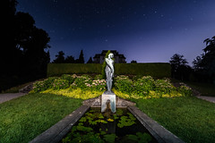 The fountain at night (ramvogel) Tags: sony a6300 samyang 8mm fisheye night stars water fountain gras switzerland