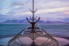 Sun Voyager Iceland (World_Of_Photos) Tags: reykjavik sun voyager travel photography iceland morning rise symetry landscape reflections mountain backdrop clouds world photos
