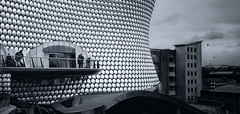 The Bullring (toniertl) Tags: birmingham toniphotoxoncouk retail shopping stainlesssteel chrome glass shiney monochrome blackandwhite architecture contrast misfit derelict blight blue sweeping city
