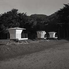 Lifeguard Towers, Stinson Beach, California, New Year's Day, 2019 (austin granger) Tags: stinsonbeach lifeguard winter newyearsday structures film square gf670 morning northerncalifornia function