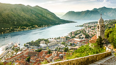 Bay of Kotor (cedant1) Tags: picturesque bell clocher bay baie bouches kotor montenegro historic fortifications lake viewpoint hill goldenhour fog