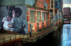 Manchester 24 (Missy Jussy) Tags: manchester urban art buildings water canal reflections 24mm ef24mmf28 canon5dmarkll canon5d canoneos5dmarkii canon architecture advertising outdoor outside 2018 december