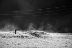 Unreal (Val di Fassa) (Ondablv) Tags: men cloudy luci fog black white alba prato fredda notte immagine irreale man human persona bn cloud nebbia ondablv foschia winter composizione